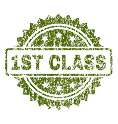 Scratched textured 1st class stamp seal vector