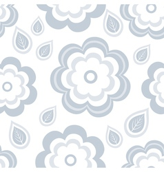 Seamless pattern with grey flowers and leaf vector image vector image