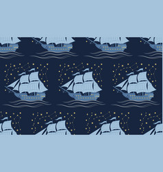 seamless pattern with sailboats and stars vector image