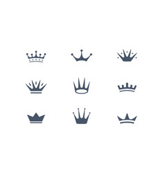 Set of royal crowns icons and logos vector