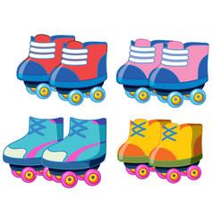 set roller skate shoes vector image