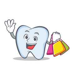 Shopping tooth character cartoon style vector