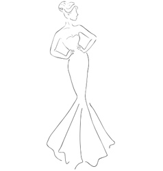 sketch of young beautiful woman vector image