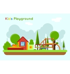 Slide and sandpit in playground vector
