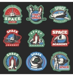 Space Flights And Research Colored Emblems vector