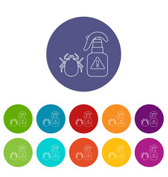 spray icons set color vector image