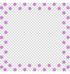 Square frame made of pink paws on transparent vector
