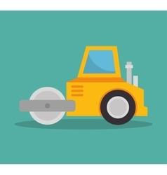 Steamroller construction icon design vector
