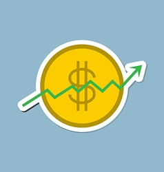 Stock raise up high with dollar coin vector