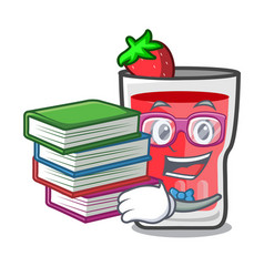 student with book strawberry mojito mascot cartoon vector image