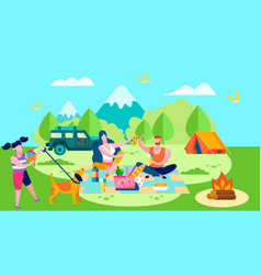 summer camp and picnic in forest cartoon banner vector image