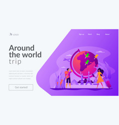 Traveling the world landing page template vector