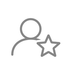 user profile with star line icon star rating vector image