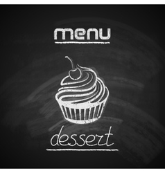 vintage chalkboard menu design with a cupcake vector image