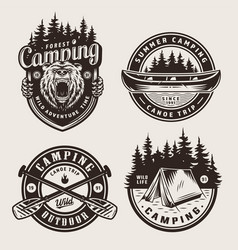 Vintage monochrome camping logotypes vector