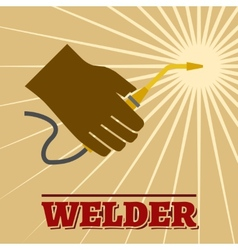Welder retro poster vector image