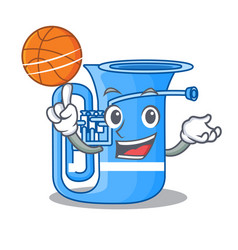 With basketball tuba in the mascot music room vector