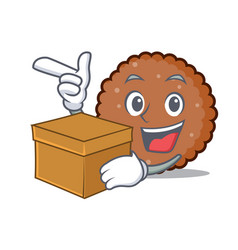 With box chocolate biscuit character cartoon vector