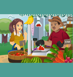 Woman shopping in a farmers market vector