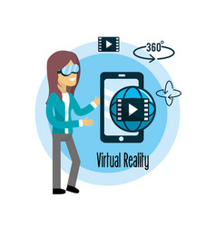 woman with smartphone and global virtual reality vector image