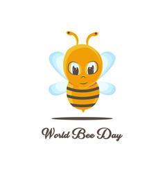 World bee day with cute cartoon bee vector
