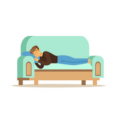 young man sleeping on the sofa relaxing person vector image