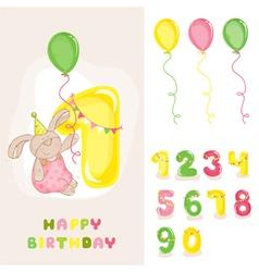 Baby Bunny Birthday Card vector image vector image