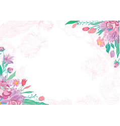 card with spring floral corners vector image vector image