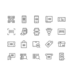 Line QR Code Icons vector image
