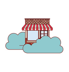 store facade with clouds in colorful silhouette vector image vector image