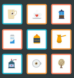 Flat icons mug french press coffee mill and vector