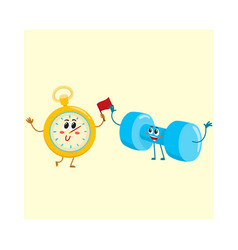 funny stopwatch and dumbbell characters with human vector image