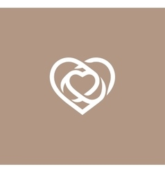 Isolated white abstract monoline heart logo Love vector image vector image