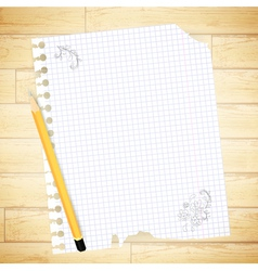notebook sheet with drawing and pencil vector image
