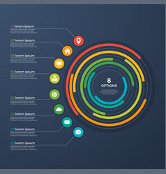 presentation infographic circle chart 8 options vector image vector image