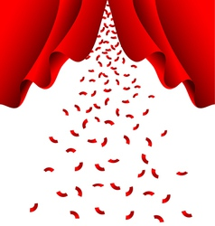 Red ribbon fall from red curtain vector image vector image