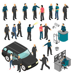 security isometric set vector image vector image