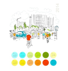 Calendar 2014 Sketch of traffic road in asian city vector image vector image