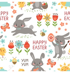 Easter rabbits pattern vector image vector image