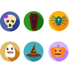 Funny and cute kit of six halloween icons vector image