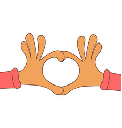 Two hands making heart sign love romantic vector