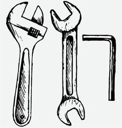 Adjustable wrench spanner vector image