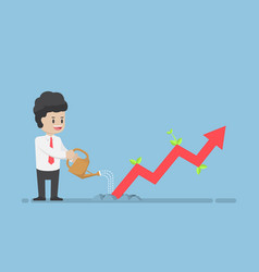 businessman watering business graph that growth vector image vector image