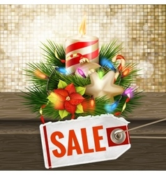 Christmas sale on gold background EPS 10 vector image