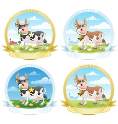 dairy products labels vector image vector image