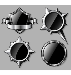 Set of steel glossy shields and compass roses vector image vector image