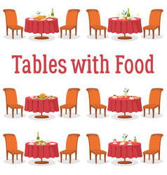 set of tables with food vector image