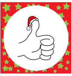 thumbs up with santa claus red hat vector image vector image