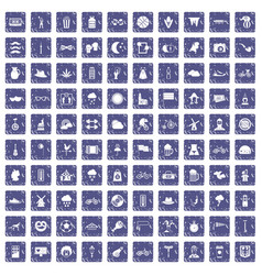 100 bicycle icons set grunge sapphire vector