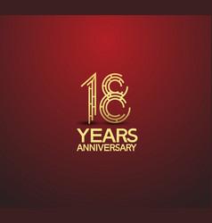 18 years golden anniversary logotype vector